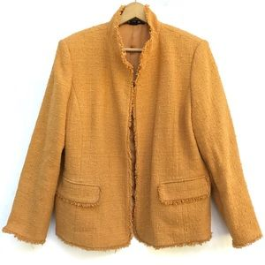 Ellen Tracy Tweed Textured Fringe Blazer Jacket